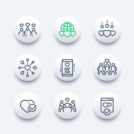 charity, donation line icons set