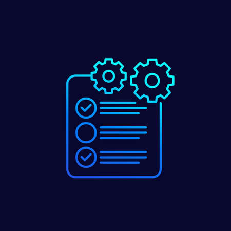check list icon with gear, project execution, linear design