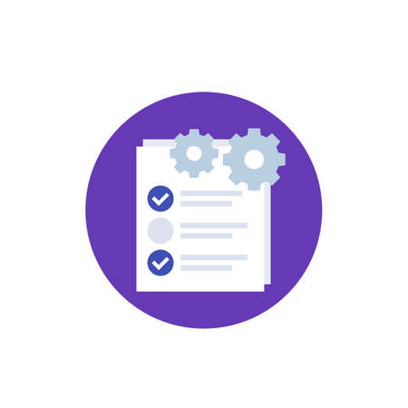 check list icon with gear, project execution vector Stock Illustratie