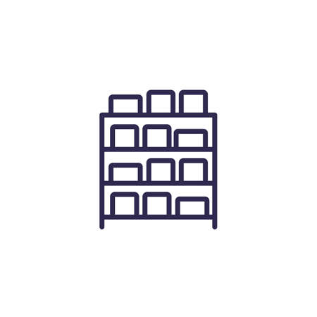 inventory, boxes on shelves line icon