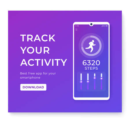 Fitness app, activity tracker for smartphone, pedometer or step counter