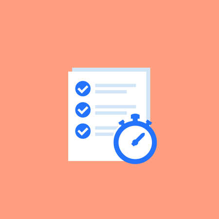 check list and timer vector icon