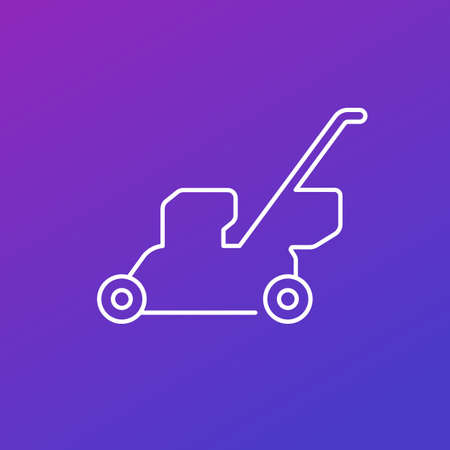 lawn mower vector thin line icon 向量圖像