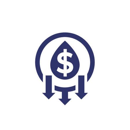 oil price drop icon on white
