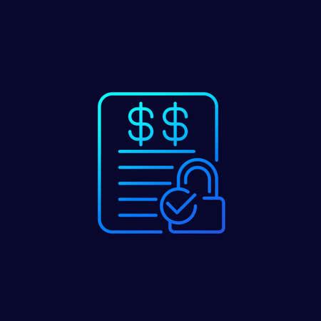 fixed costs icon, line design Ilustração