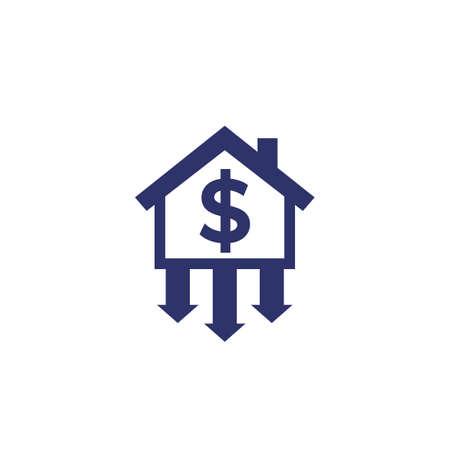house prices decline icon on white