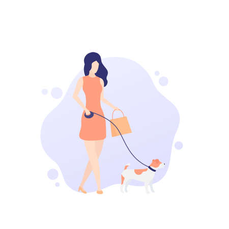 girl walking with jack russell, vector