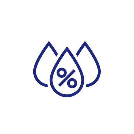 Humidity icon, water drops and percent