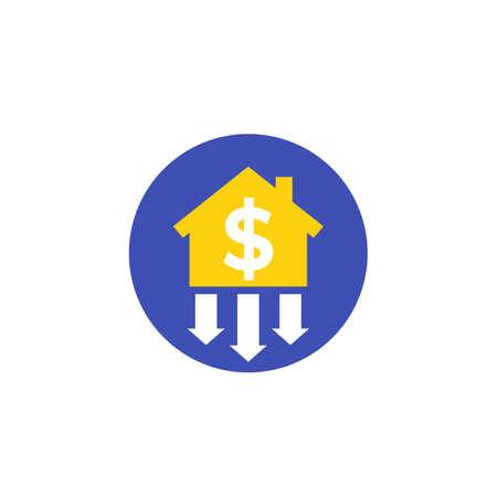 house prices decline icon, vector Illusztráció
