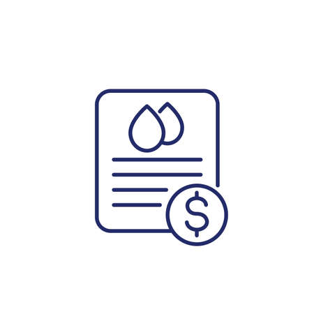 water utility bill icon, line vector