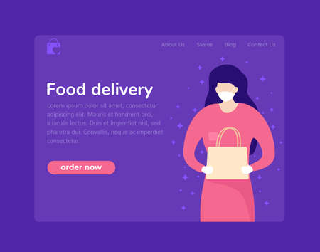 Food delivery page design with courier in mask, woman with food bag
