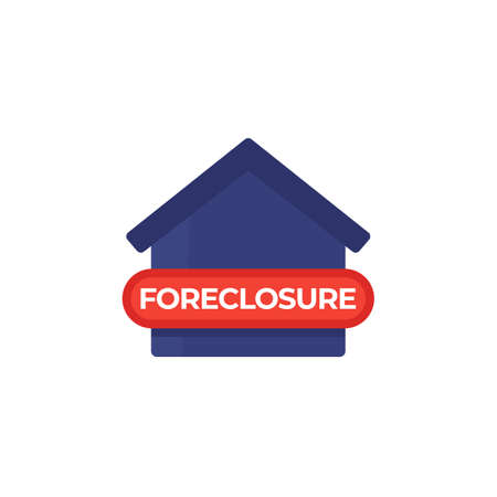 foreclosure icon with house on white Illustration