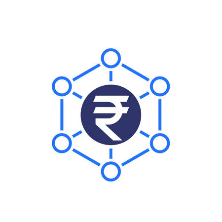 Financial diversification, indian rupee vector icon