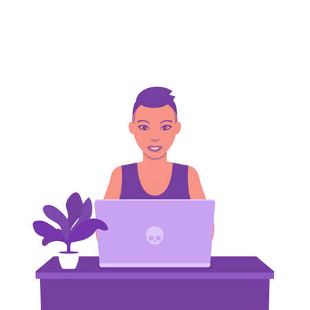 freelancer working with laptop, young girl with short haircut at work, vector illustration Illustration
