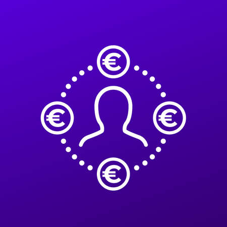 Employee costs or salary icon with euro