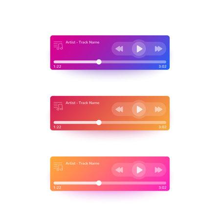 Music player ui, mobile interface design Illustration
