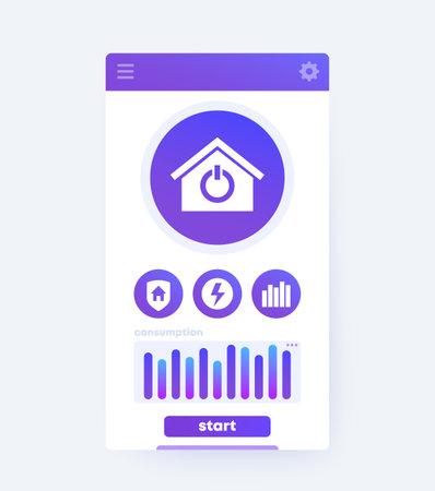 Smart home app interface, mobile ui design, vector