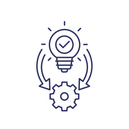 Implementation icon, ideas execution line vector