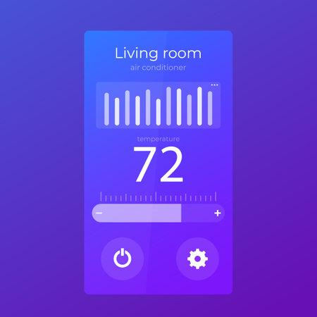 thermostat app mobile ui design, vector template Illustration