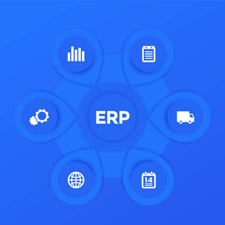 ERP software infographics vector template design in blue