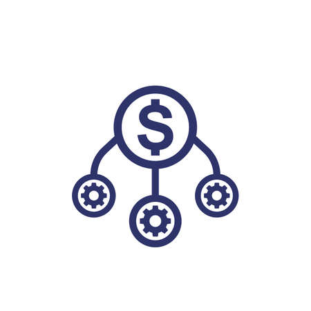 operational costs optimization icon on white, vector