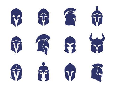 helmets set, spartan, greek and roman, gladiator helmet Çizim