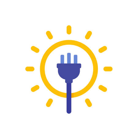Solar energy icon with electric plug, vector