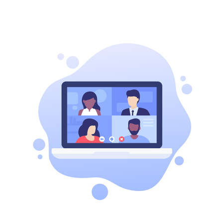 Video conference, online meeting, group video call, vector