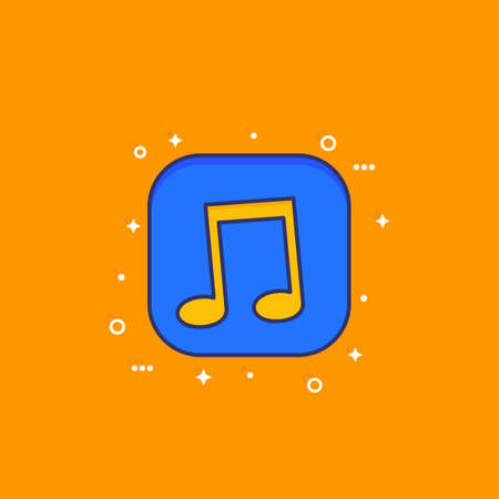 Music icon with outline for apps and web