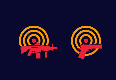 Guns and target vector icons