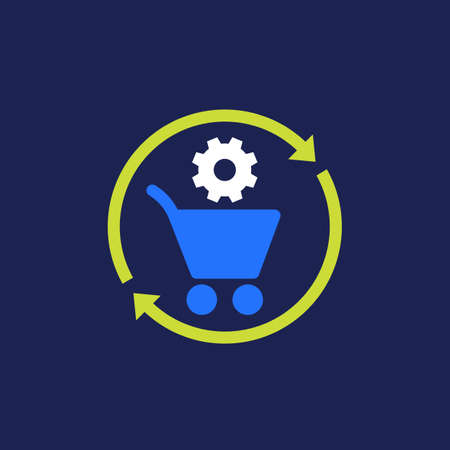 order processing, procurement icon, flat vector