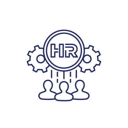 HR, Human Resource line icon on white Illustration