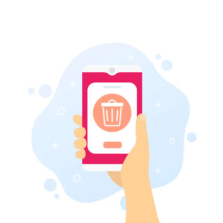 Trash bin in phone, vector