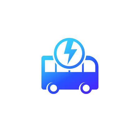 electric bus icon on white, clean transport vector Illustration