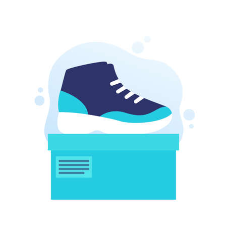 basketball shoe, high top sneakers with a box, vector Illustration