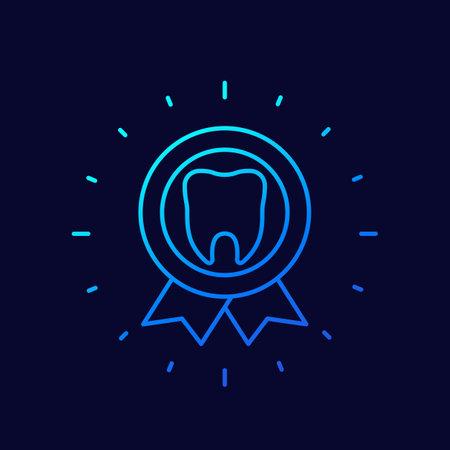 dental certificate icon, linear badge