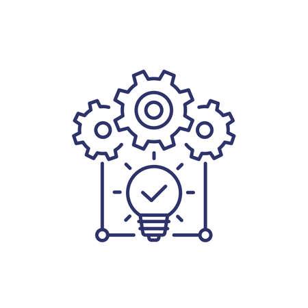 idea execution line icon on white
