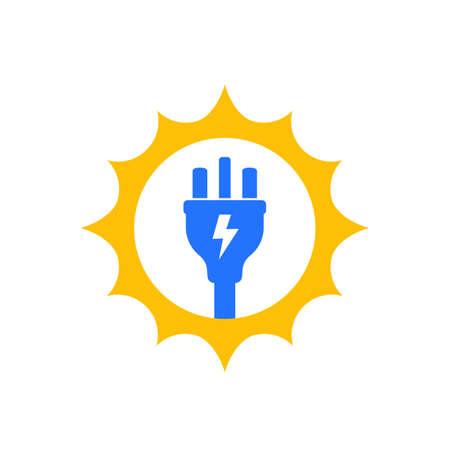 Solar energy icon with electric plug Ilustracje wektorowe
