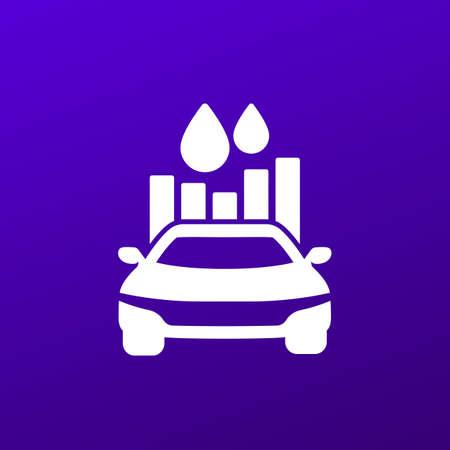 fuel consumption icon with car, vector