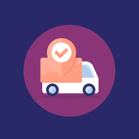 shipping, delivery van icon, flat vector