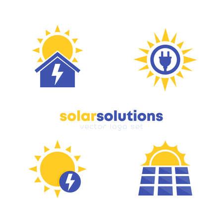 solar energy solutions logo set, vector