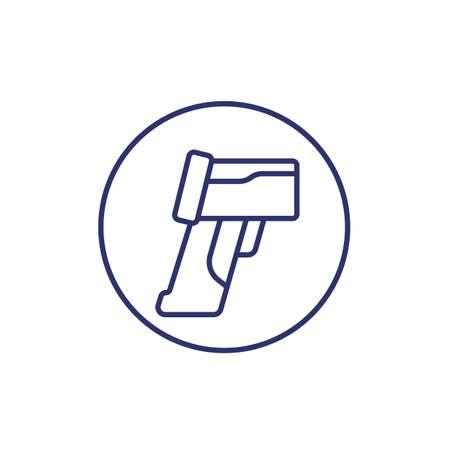 thermometer gun line icon on white Illustration