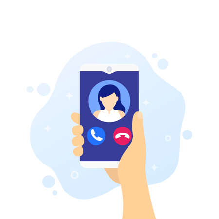 phone call, smartphone in hand vector