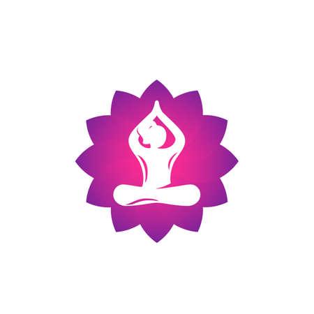 yoga logo, meditation, lotus pose, girl meditates vector