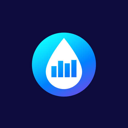 water level icon with graph, vector