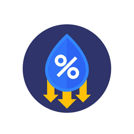 Humidity decrease vector icon, water drop and percent