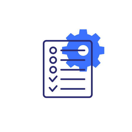Project management, gear and checklist icon