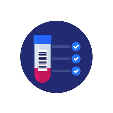 blood test results, blood sample icon