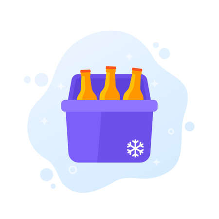 Portable cooler with soda bottles, vector icon