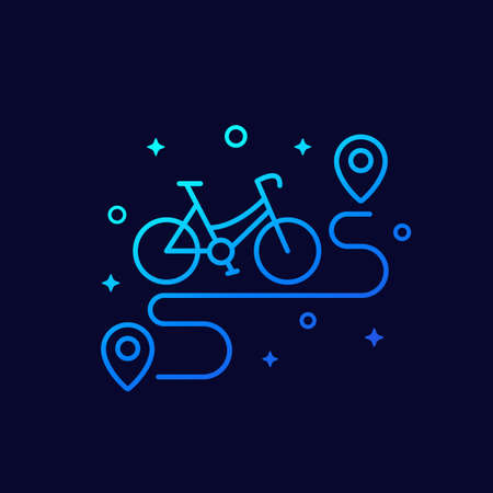 bike and route linear icon